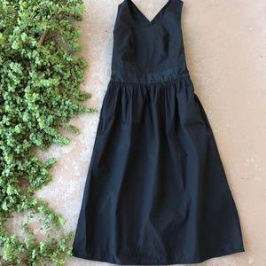 Everlane Clean Cotton Midi Cross-Back Dress Navy